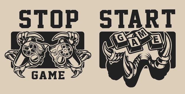 Conjunto de ilustrações sobre um tema de jogo com um joystick em um fundo branco e preto. o texto está em um grupo separado.