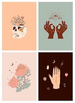 Conjunto de ilustrações verticais com elementos místicos e do méxico.