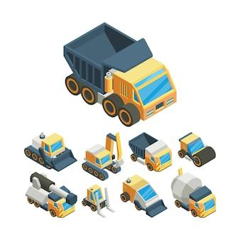 Conjunto de ilustrações vetoriais 3d isométrica de máquinas industriais