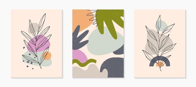 Conjunto de ilustrações vetoriais abstratas modernas com várias formas orgânicas e arte de linha de folhagem. impressão de arte minimalista. desenhos artísticos da moda para modelos de banners; mídia social, convites; branding, capas