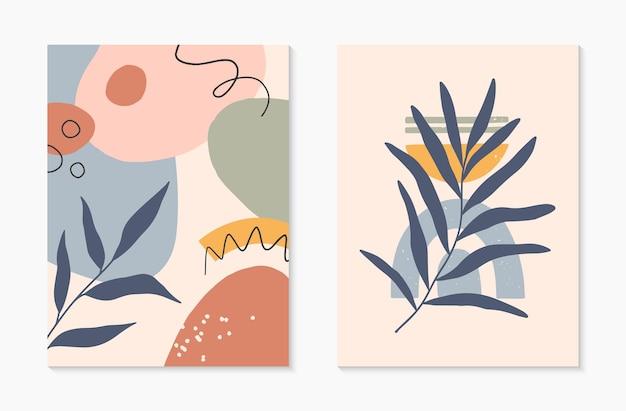 Conjunto de ilustrações vetoriais abstratas modernas de meados do século com formas e plantas orgânicas