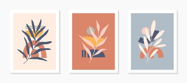 Conjunto de ilustrações vetoriais abstratas modernas de meados do século com formas orgânicas e folhas