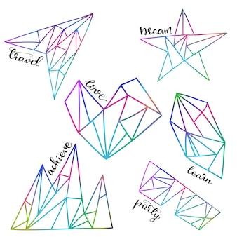 Conjunto de ilustrações vetoriais com elementos gráficos