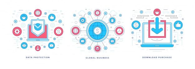 Conjunto de ilustrações vetoriais com ícones para marketing global de negócios e comércio