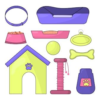 Conjunto de ilustrações vetoriais de acessórios para animais de estimação