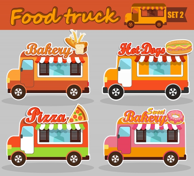 Conjunto de ilustrações vetoriais de caminhão de alimentos.