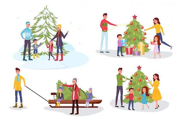 Conjunto de ilustrações vetoriais de celebração de natal