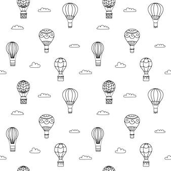 Conjunto de ilustrações vetoriais de contorno de balão de ar quente no céu