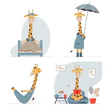Conjunto de ilustrações vetoriais de crianças com girafas cartton engraçadas