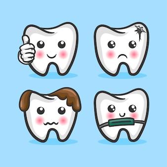 Conjunto de ilustrações vetoriais de dentes em estilo cartoon