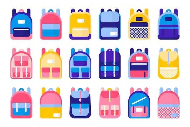 Conjunto de ilustrações vetoriais de desenho animado com mochilas e mochilas escolares em fundo branco