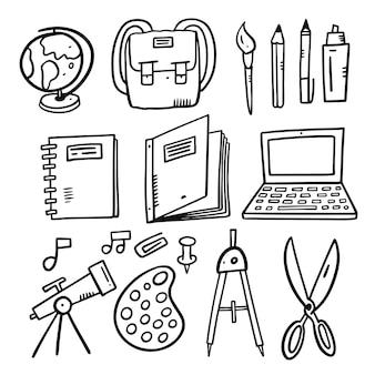 Conjunto de ilustrações vetoriais de doodle escolar isolado no branco