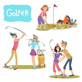 Conjunto de ilustrações vetoriais de jogos de golfe.