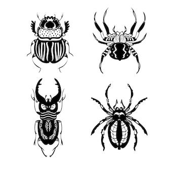Conjunto de ilustrações vetoriais de linha de besouros e aranhas estilo de desenho à mão