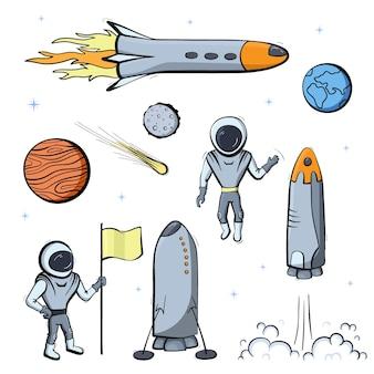Conjunto de ilustrações vetoriais de nave espacial, foguete, rover. ícones do vetor dos desenhos animados do doodle.
