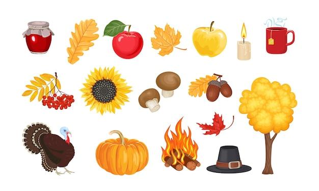 Conjunto de ilustrações vetoriais de outono.