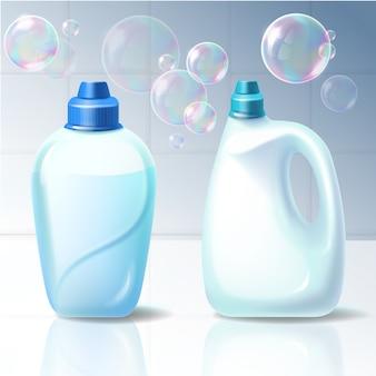 Conjunto de ilustrações vetoriais de recipientes de plástico para produtos químicos domésticos.