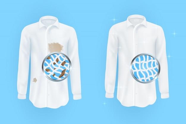 Conjunto de ilustrações vetoriais de uma camisa branca com manchas marrons sujas e limpo