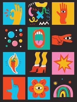Conjunto de ilustrações vetoriais em cores diferentes em formas abstratas de design plano de desenho animado