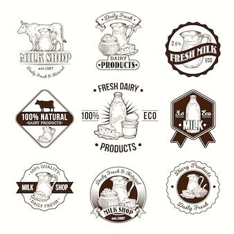 Conjunto de ilustrações vetoriais, emblemas, adesivos, rótulos, logotipo, selos para leite e produtos lácteos