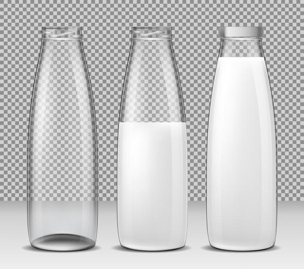 Conjunto de ilustrações vetoriais isoladas, ícones, garrafas de vidro para leite e produtos lácteos
