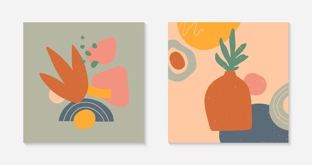 Conjunto de ilustrações vetoriais modernas com vaso, folhas, formas orgânicas e elementos. impressões de arte terracotta. design contemporâneo moderno perfeito para modelos de banners; mídia social, convites; capas.