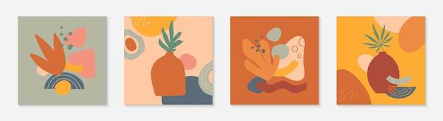 Conjunto de ilustrações vetoriais modernas com vasos, folhas, formas e elementos orgânicos. impressões de arte em terracota. design contemporâneo moderno perfeito para modelos de banners; mídia social, convites; capas.