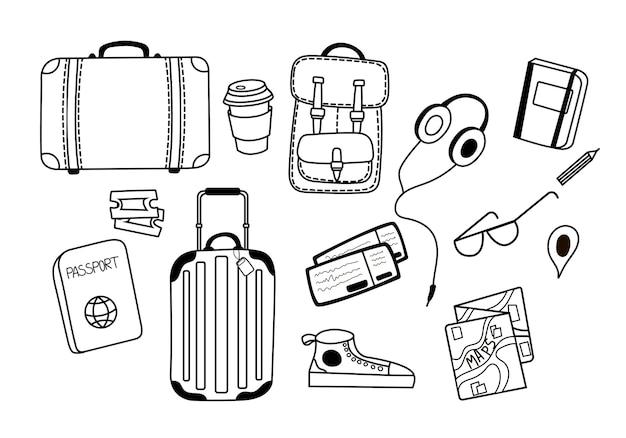 Conjunto de ilustrações vetoriais para viagens com malas, fones de ouvido, uma xícara de café, óculos e tênis