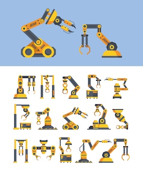 Conjunto de ilustrações vetoriais plana braços robóticos amarelos