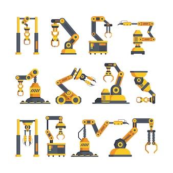Conjunto de ilustrações vetoriais plana de alta tecnologia braços robóticos