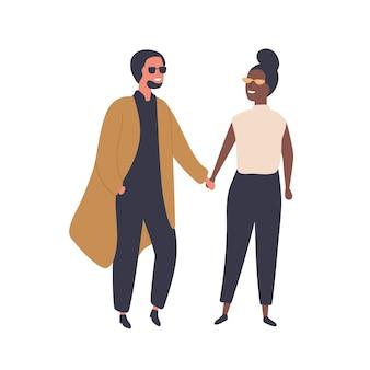 Conjunto de ilustrações vetoriais plana de casal inter-racial. casal jovem moderno, menina e menino. relacionamento, amor, data, conceito de caminhada familiar. homem caucasiano e personagens de desenhos animados de mulher de pele escura.