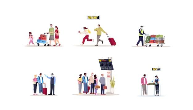 Conjunto de ilustrações vetoriais plana de terminal de aeroporto. controle de saúde por precaução pandêmica na fronteira. pessoas com máscaras médicas se apressam para partir. kit de personagens de desenhos animados isolados de passageiros de avião