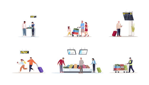 Conjunto de ilustrações vetoriais plana de terminal de aeroporto. controle de segurança para contrabando. verificação de bagagem. família vai de férias. espere pelo vôo. kit de personagens de desenhos animados isolados de passageiros de avião