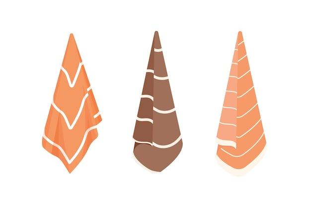 Conjunto de ilustrações vetoriais plana de toalhas de banho. desenhos animados de toalhas listradas de cor marrom e laranja penduradas em ganchos isolados no fundo branco. procedimentos de spa, coleção de acessórios de banheiro.