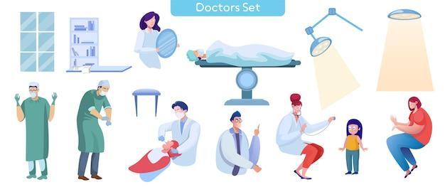 Conjunto de ilustrações vetoriais planas de serviços médicos