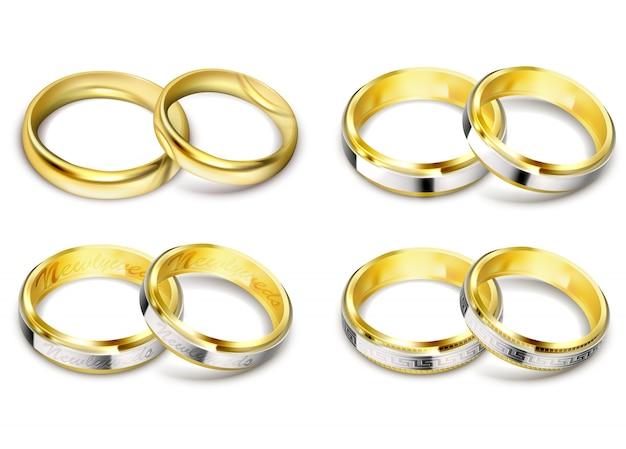 Conjunto de ilustrações vetoriais realistas de anéis de casamento dourados com sombra