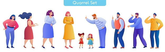 Conjunto de ilustrações vetoriais simples para discutir pessoas
