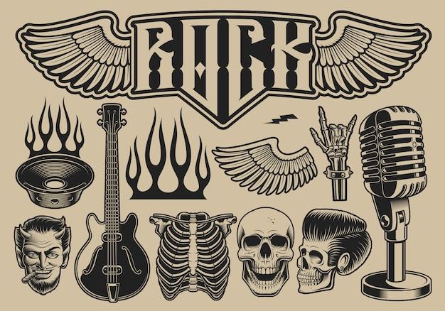 Conjunto de ilustrações vetoriais sobre o tema rock roll em um fundo claro