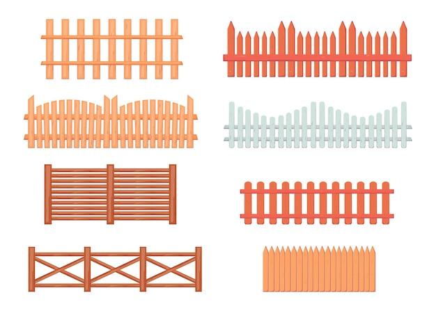 Conjunto de ilustrações vintage de cercas de madeira
