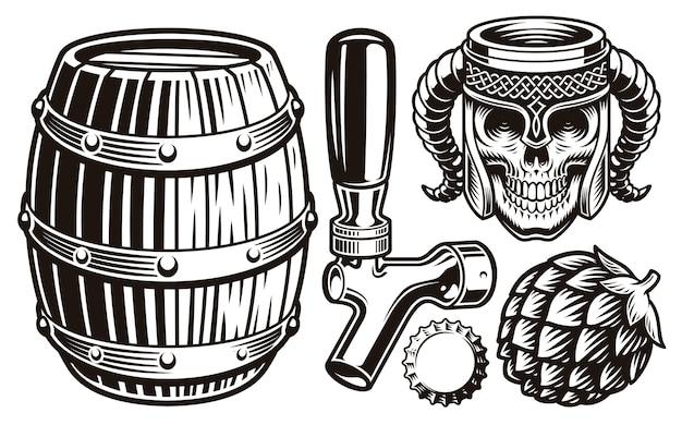 Conjunto de ilustrações vintage de cerveja