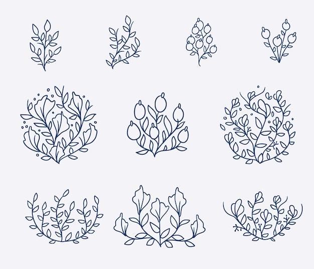 Conjunto de ilustrações vintage de flores desenhadas à mão