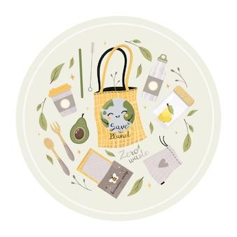 Conjunto de ilustrações zero resíduos. ir verde. itens ou produtos duráveis e reutilizáveis