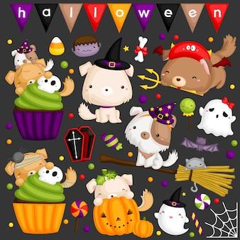 Conjunto de imagem de cão de halloween
