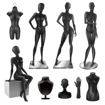 Conjunto de imagem preto realista de mulheres de manequins