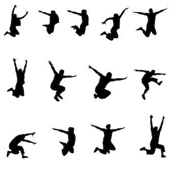 Conjunto de imagens atleta de salto.