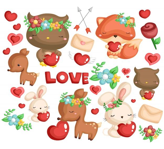 Conjunto de imagens de animais da floresta