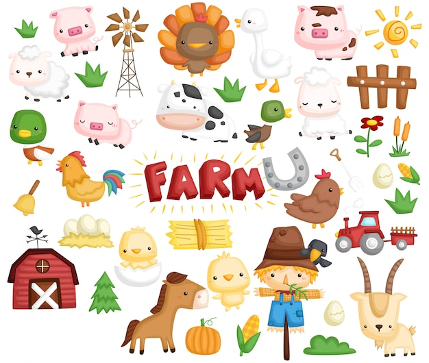 Conjunto de imagens de animais de fazenda
