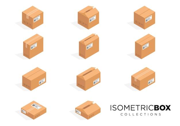 Conjunto de imagens de caixa de embalagem de cartão isométrico
