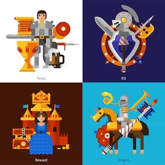 Conjunto de imagens de cavaleiro