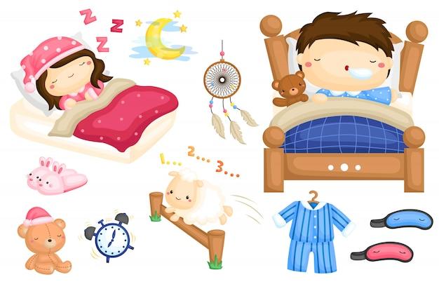 Conjunto de imagens de crianças dormindo